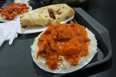 Butter chicken meal from food court. Indian butter chicken meal from commercial food court Royalty Free Stock Images