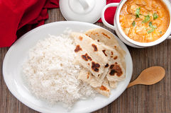 Butter chicken and naan Stock Photos
