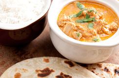 Butter chicken and naan Stock Photography
