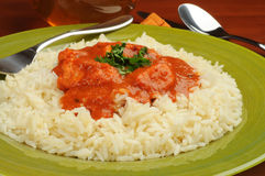 Butter Chicken and Rice Stock Photos