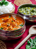 Butter chicken with rice and Saag Paneer. Photo of an Indian meal of Butter Chicken, rice and Saag Paneer Royalty Free Stock Photo