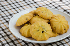 Butter Cookie with Chocolate Chip. Butter cookie with chocolate chip for eating on relaxing time of tea break Royalty Free Stock Photography