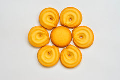 Butter cookies. Over white background royalty free stock photos