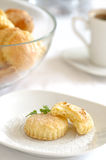 Butter cookies. Closeup of freshly baked butter cookies on a plate Royalty Free Stock Photos