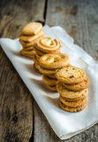 Butter cookies arranged in a row Royalty Free Stock Photos