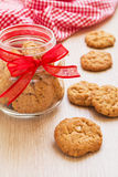 Butter cookies and bottle on table Royalty Free Stock Photos