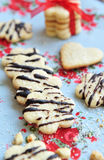 Butter cookies with chocolate fudge sauce Royalty Free Stock Images