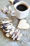 Butter cookies with chocolate fudge sauce Stock Images