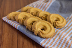 Butter cookies on cloth. Vanilla flavor butter cookies on cloth Stock Photo