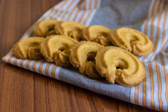 Butter cookies on cloth. Vanilla flavor butter cookies on cloth Stock Photos