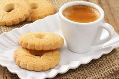Butter cookies with coffee royalty free stock photo