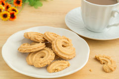 Butter cookies and coffee cup Royalty Free Stock Images