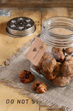 Butter cookies with cranberry in glass jar with Baked with love tag Stock Image