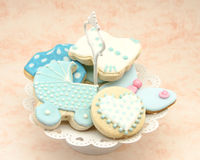 Butter cookies. With icing decorated with children's motifs Stock Image