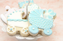 Butter cookies. With icing decorated with children's motifs Stock Photography