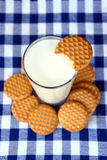Butter cookies with milk. Butter cookies with a glass of milk Royalty Free Stock Photos