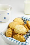 Butter cookies with milk Royalty Free Stock Image