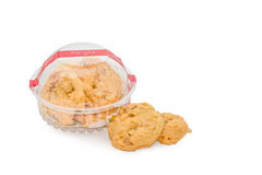 Butter cookies in a plastic box isolated on white background.  Stock Image