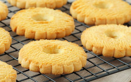 Butter cookies on a rack Royalty Free Stock Image