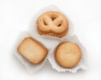 Butter cookies. Stack of butter cookies isolated on white Royalty Free Stock Photos