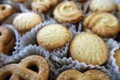 Butter cookies in variety shapes. stock image