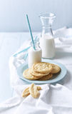 Butter Cookies with White Chocolate and Milk Royalty Free Stock Photo