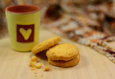 Butter cookies. On wood table Royalty Free Stock Image