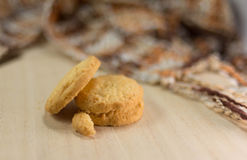 Butter cookies. On wood table stock photography
