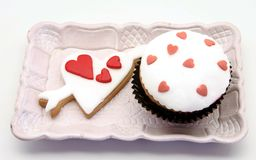 Butter cookiesn and cupcake Stock Image