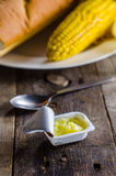 Butter with corn and bread. Breakfast of Butter with corn and bread stock photos