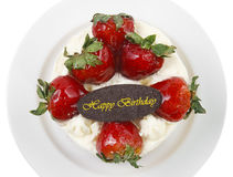 butter cream cake with strawberry & birthday chocolate plate, in Stock Photography