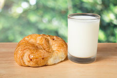 Butter croissant and a glass of milk Stock Photo