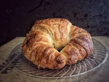 Butter Croissant Pastry on clear plate Royalty Free Stock Photo