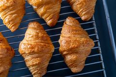Butter croissants taken from the oven on a grid tray. Aerial top view on dark background stock photos