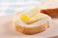 Butter curls on bread Royalty Free Stock Images