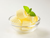 Butter curls in a glass bowl stock images