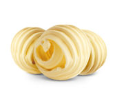 Butter curls on white Royalty Free Stock Photos