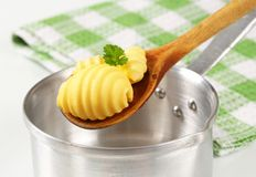 Butter curls on wooden spoon Stock Images