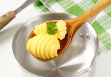 Butter curls on wooden spoon Stock Photos