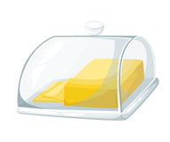 Butter on cutting board isolated photo-realistic illustration Web site page and mobile app design element. stock illustration