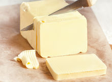 Butter cutting by knife Stock Images
