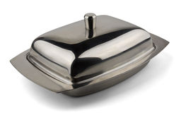 Butter dish. Stainless steel butter dish isolated on  white Royalty Free Stock Images
