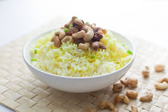 Butter Fried Rice. With cashew nuts on a bowl Stock Photo