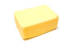Butter gesalzt auf weißem Hintergrund. Lizenzfreies Stockbild