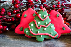 Butter handmade cookies with christmas fondant Stock Photo