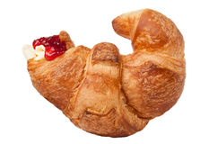 Butter and jam croissant Stock Image
