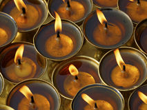 Butter lamps in a monastery Stock Images