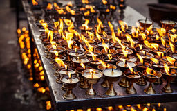 Butter lamps with flames Stock Images