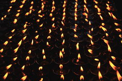 Butter lamps in Kathmandu, nepal. Stock Photo
