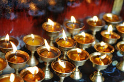 Butter lamps  in Tibet Stock Photos